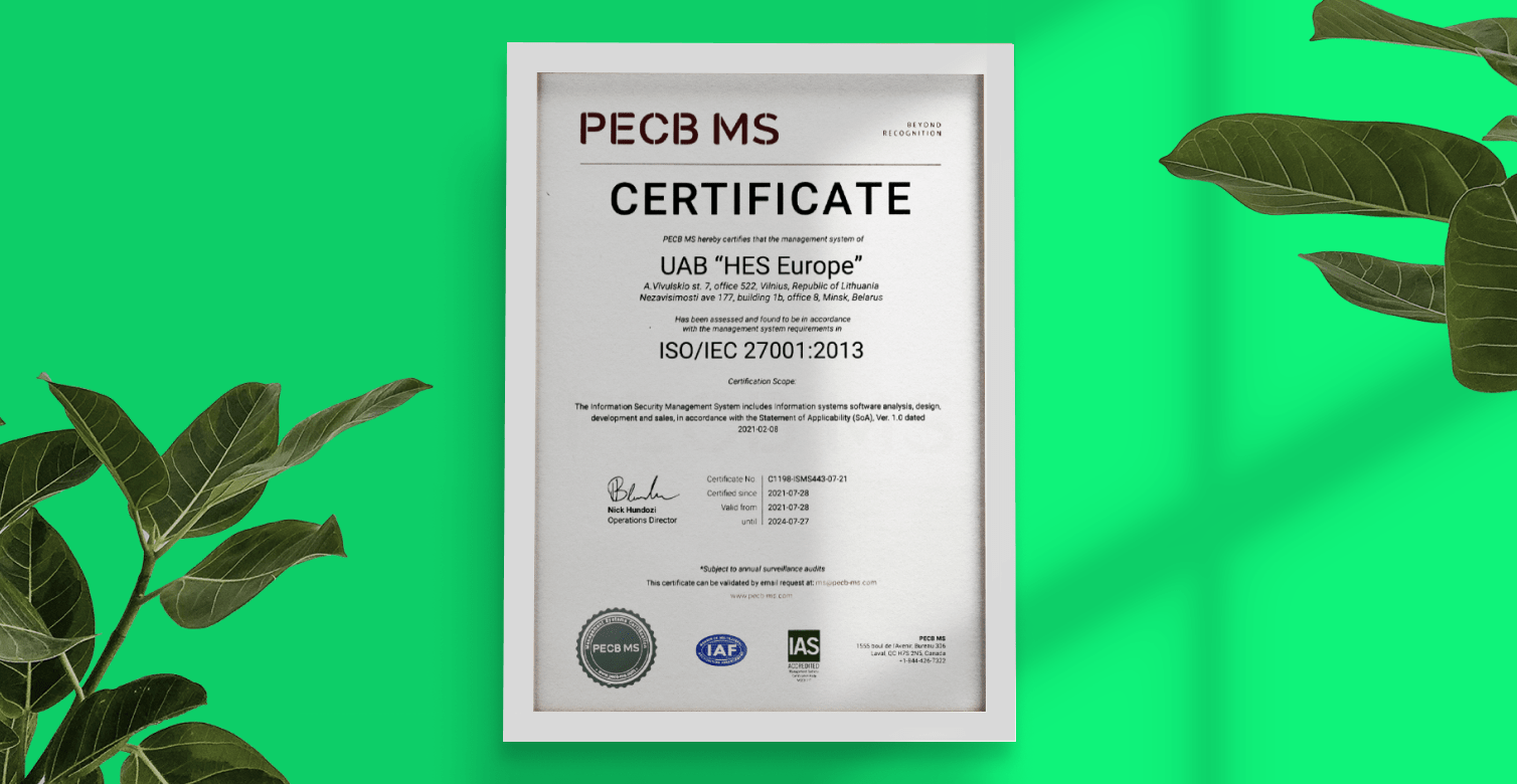 HES FinTech is Now Officially ISO 27001 Certified